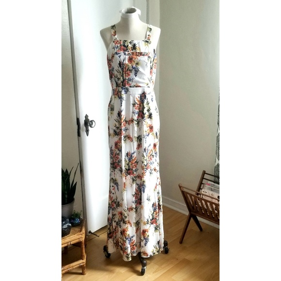 8223e254 Haute Hippie Dresses | Boho Floral Gown With Bib Front And Snap ...